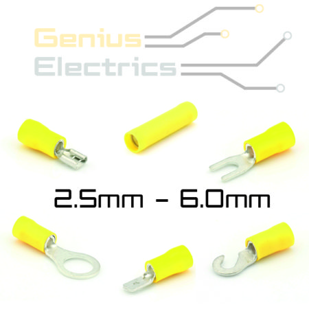 Geel geïsoleerde kabelschoen 2.5-6.0mm²